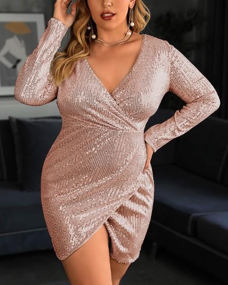 Plus SIze Sequins Long Sleeve Bodycon Dress