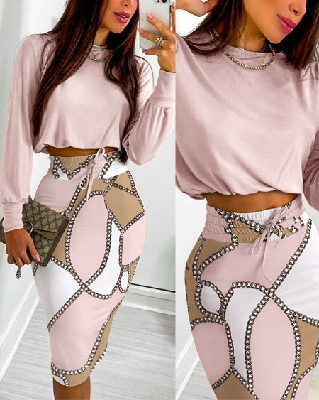 Two Piece Sets Casual Long Sleeve Plain Top & Chain Print Colorblock Drawstring Shirred Skirt Set