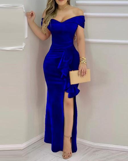 Velvet Off Shoulder Ruffle Hem Split Maxi Dress Plain Slit Party Dress