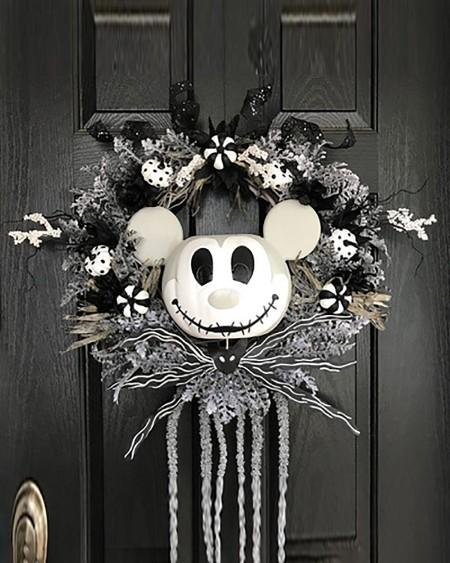 Halloween Diablo Mickey Wreath Hanging Door Decoration Nightmare Wreath Pumpkin Atmosphere Decoration
