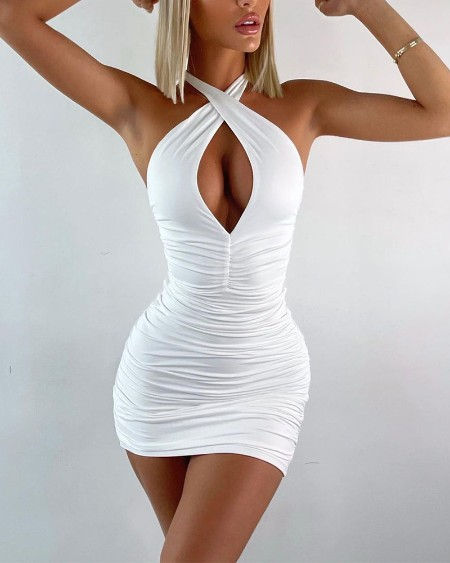 Solid Color Halter Sleeveless Ruched Bodycon Dress Hollow Backless Short Dress