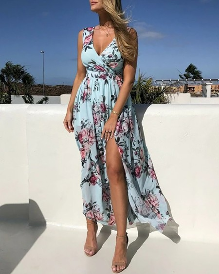 Floral Print V Neck High Slit Maxi Beach Dress