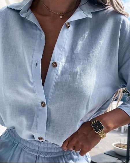 Button Design Casual Shirt & Shirred Shorts Set