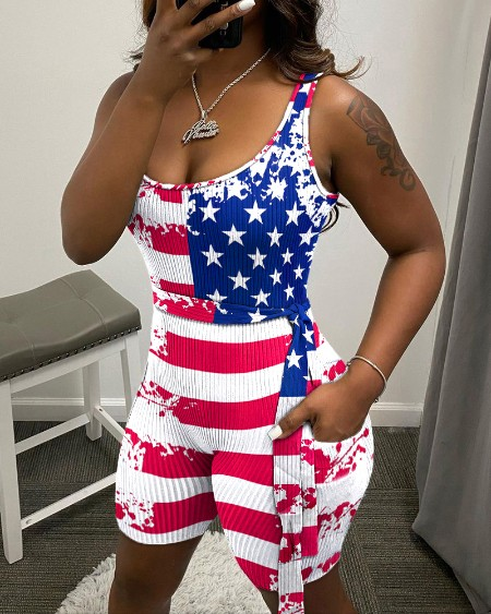 American Flag Print Straight Bodycon Rompers
