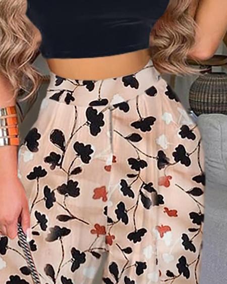 Plain Crop Top & Floral Print Pants Set