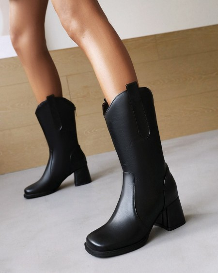 Womens Vintage Square Toe Oil Finish High Heel Western Boots