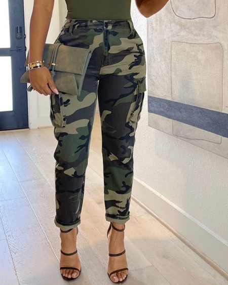 Camouflage Print Flap Pocket Skinny Pants