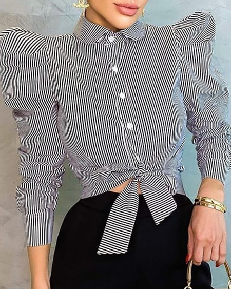 Puff Sleeve Striped Print Knotted Long Sleeve Top