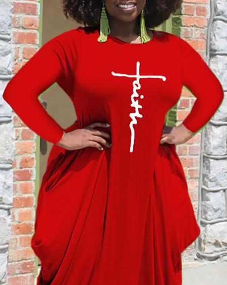 Plus Size Letter Print Long Sleeve Asymmetrical Maxi Dress