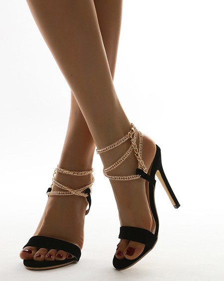 Pointed-toe Open-toe Chain Ankle Strap High Heels