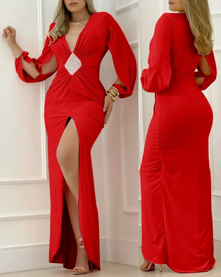Split Sleeve Plunge High Slit Evening Dress