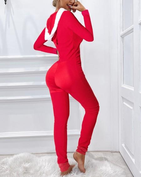 Pom Pom Decor Long Sleeve Hooded Onesie Pajamas