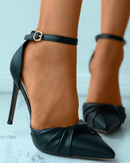 Twisted Pointed Toe Ankle Strap Stiletto Heels