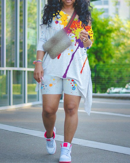 Splash Ink Print Colorblock Long Sleeve Top & Shorts Set