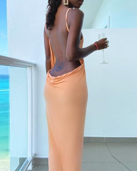 Solid Strap Sleeveless Loose Slit Midi Dress