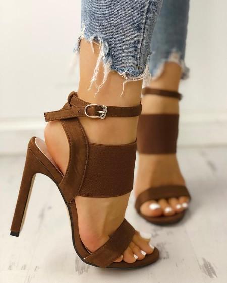 Open Toe Elastic Strap Heeled Sandals