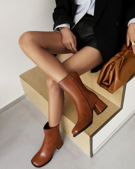 Womens Vintage Square Toe High Heel Side Zipper Chelsea Boots
