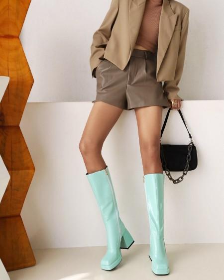 Womens Square Toe Shiny Finish High Chunky Heel Long Boots