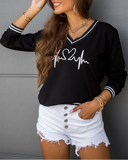 Graphic Print Colorblock V-Neck Long Sleeve Top