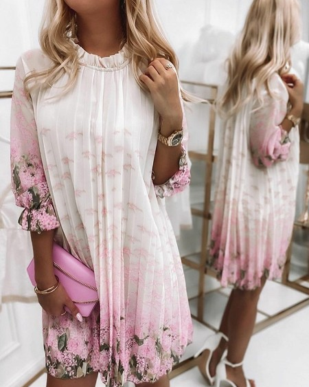 Floral Print Ruffle Trim Pleated Dress 3/4 Sleeve Casual Loose Dress