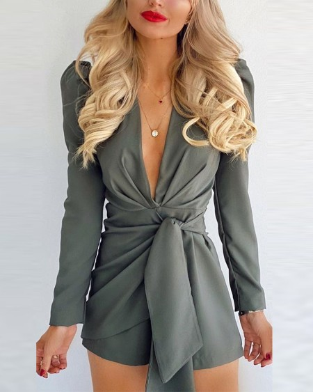 Solid Deep V Neck Tie Front Puff Sleeve Romper