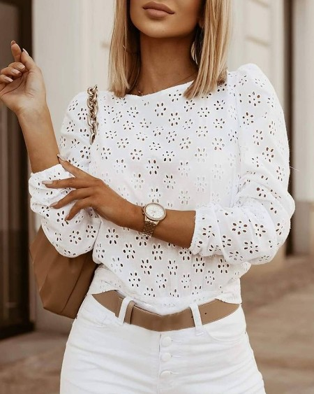 Eyelet Embroidery Knotted Backless Long Sleeve Top