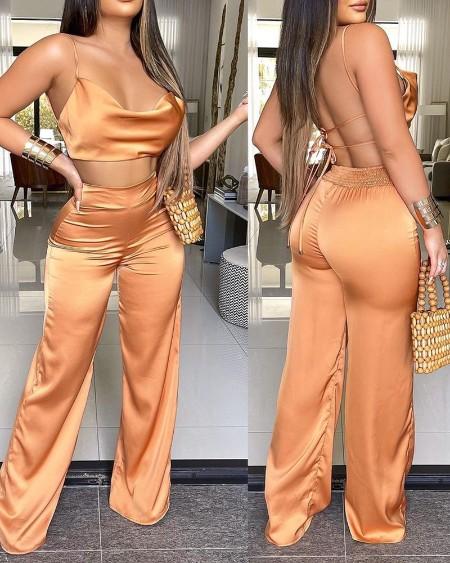 Satin Cowl Neck Crop Top & Shirred Wide Leg Pants Set