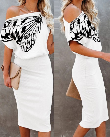 Butterfly Print Short Sleeve Casual Dress