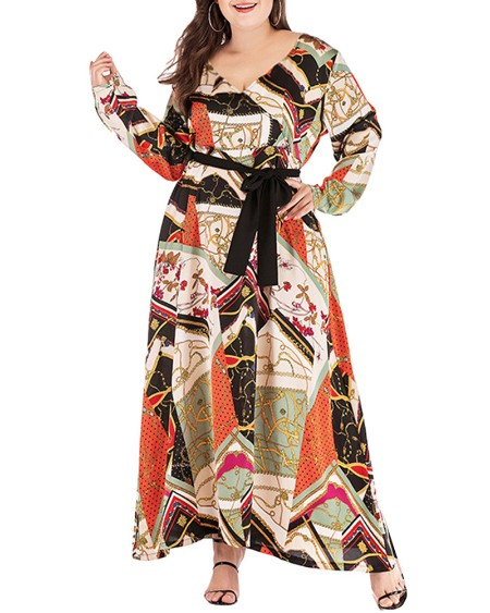 Plus Size Tied Detail Scarf Print Long Sleeve Maxi Dress