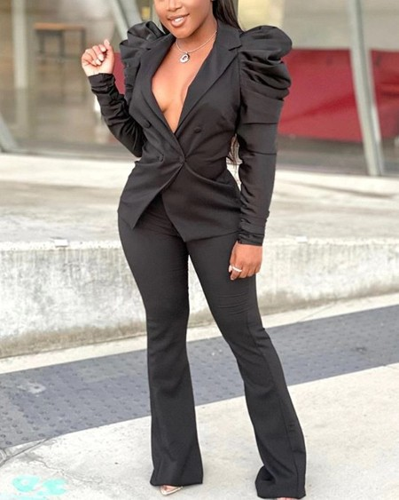 Double Breasted Puff Sleeve Blazer & Bootcut Pants Set