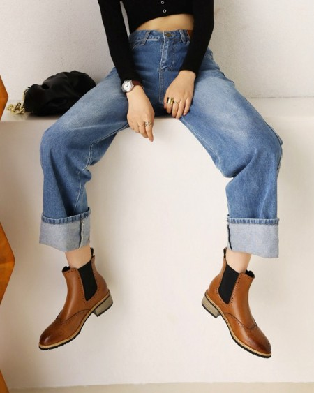 Womens Vintage Round Toe Low Heel Patchwork Chelsea Boots