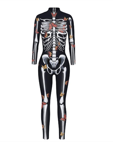 Skull Skeleton Print Zip Back Halloween Costume Jumpsuit
