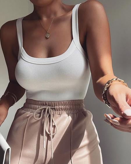 Thick Strap Plain Sleeveless Skinny Bodysuit