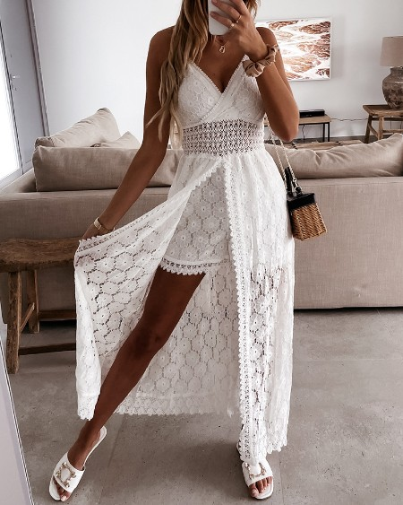 Solid Color Lace Hollow-out Sling Rompers