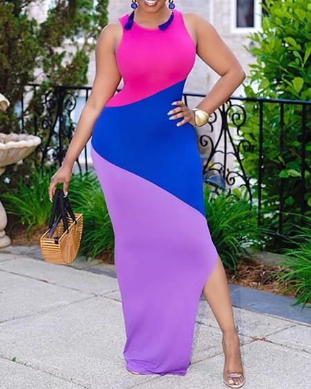 Plus Size Sleeveless Colorblcok Slit Maxi Dress