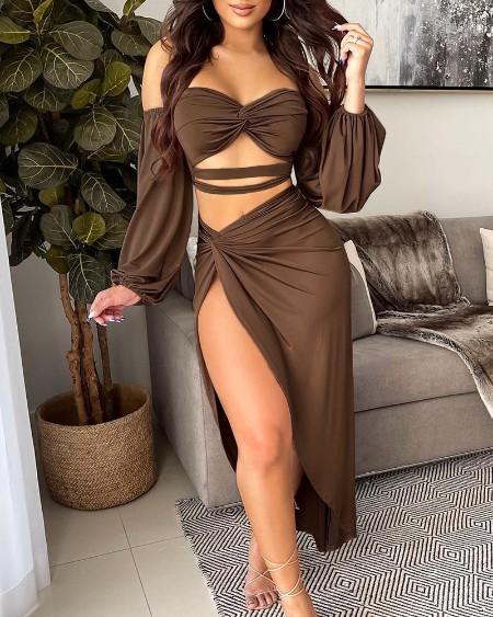 Off Shoulder Twisted Crop Top & High Slit Maxi Skirt Set