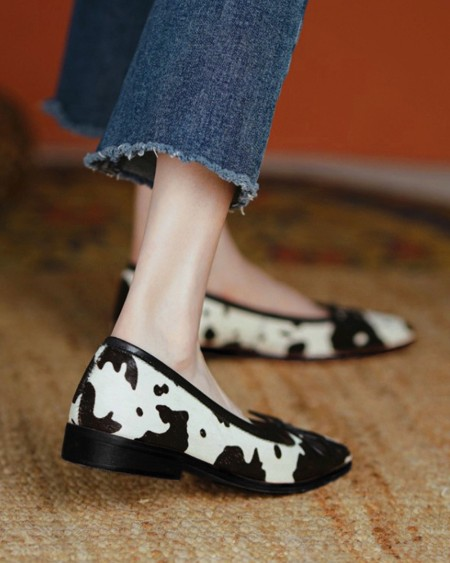 Square-toe Cow Print Splicing Bow Slip-on