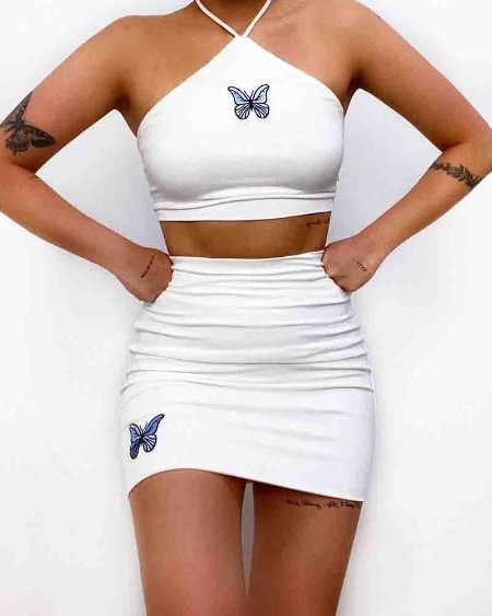 Butterfly Print Sleeveless Halter Slim Tank With Mini Skirts Suit Sets