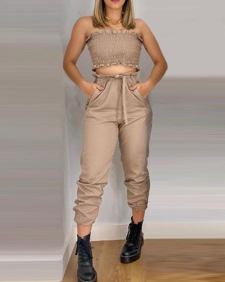Shirred Frill Hem Crop top & Pocket Design Pants Set