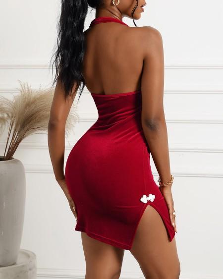 Halter Backless Lace-up Slit Velvet Cheongsam Dress