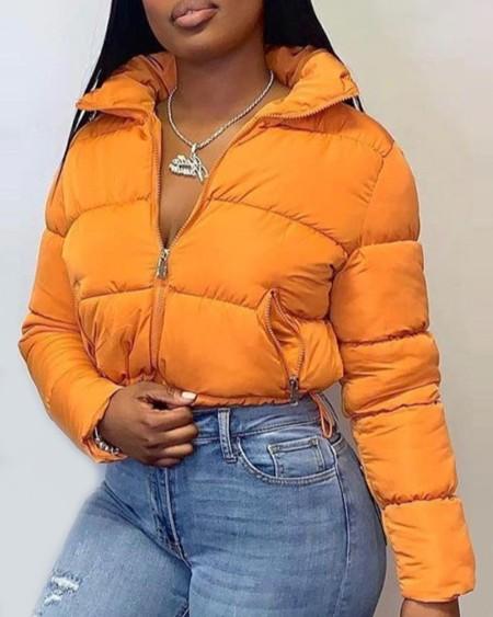 Plain Pocket Design Zipper Padded Coat