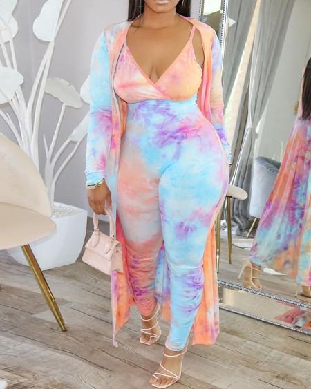 Plus Size Tie Dye Print Jumpsuit & Long Sleeve Cardigan Set