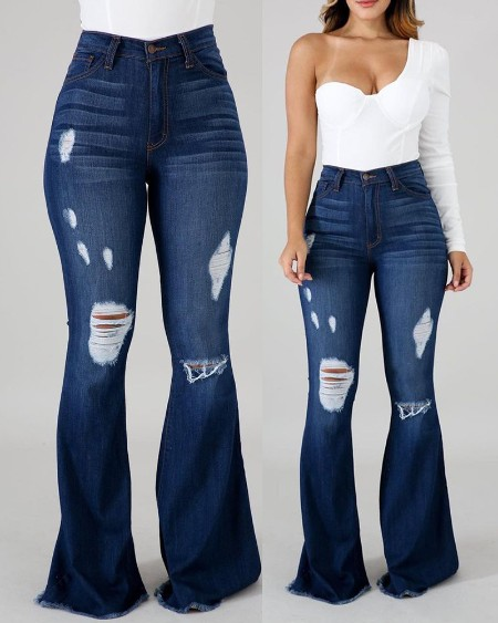 High Waist Cutout Ripped Flared Jeans