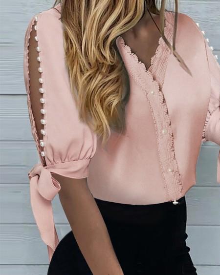 Beaded Lace Long Sleeve Shirt