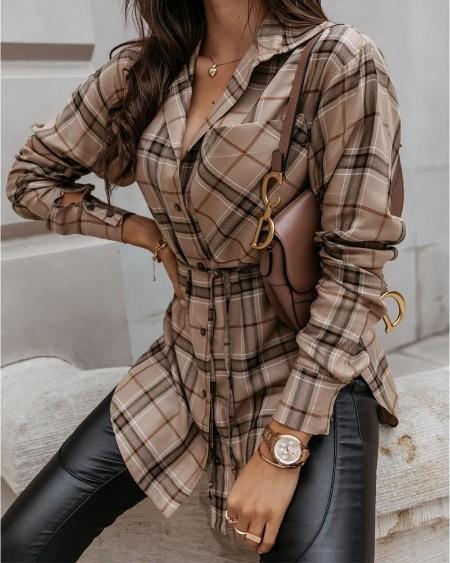 Camisa de manga comprida estampada xadrez