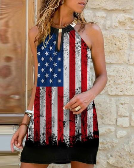 Flag Print Sleeveless Cutout Front Casual Dress