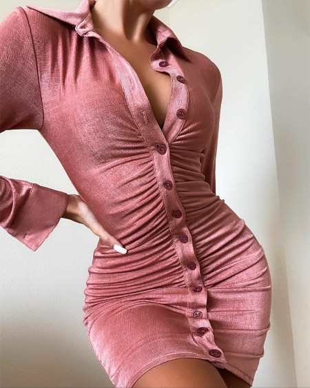 Solid Button Up Ruched Mini Dress