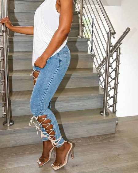 Zipper Fly Cutout Lace-Up Skinny Jeans