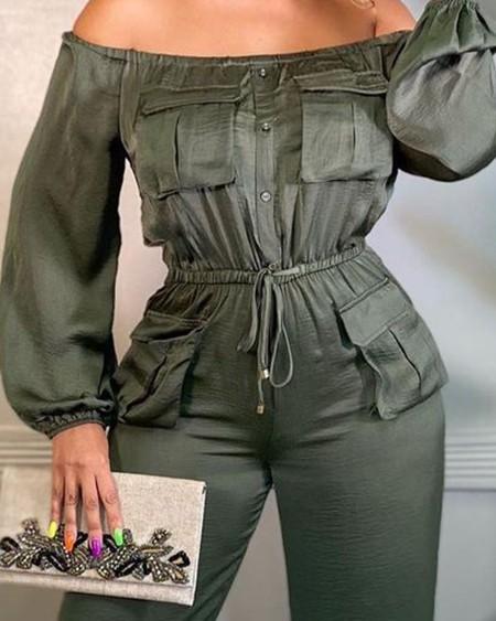 Off Shoulder Lantern Sleeve Pocket Design Drawstring Jumpsuit
