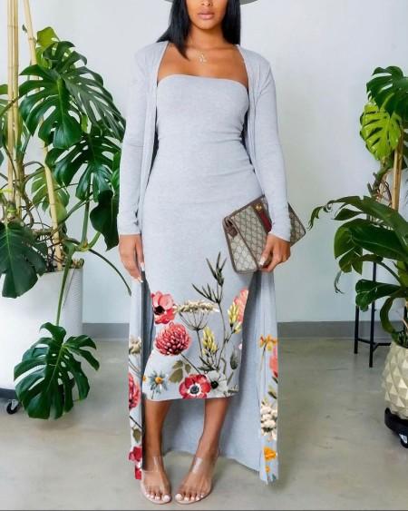 Floral Print Skinny Tube Dress With Longline Cardigan Set